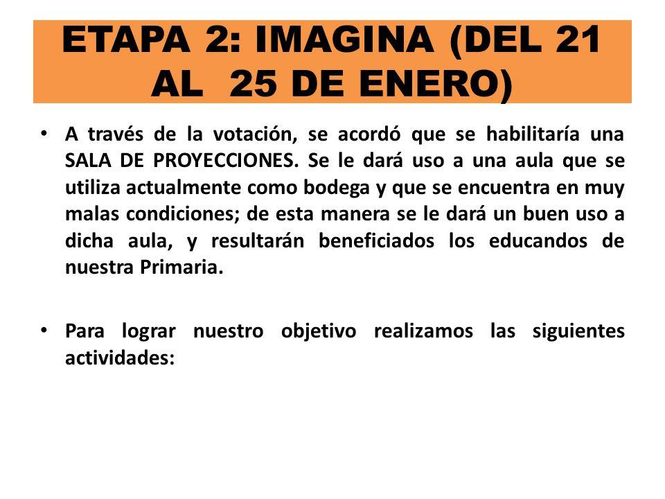 ETAPA 2: IMAGINA (DEL 21 AL 25 DE ENERO)