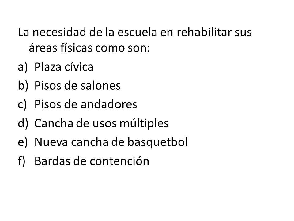 La necesidad de la escuela en rehabilitar sus áreas físicas como son: