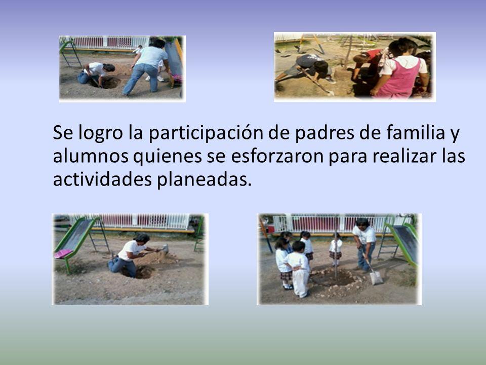 Se logro la participación de padres de familia y alumnos quienes se esforzaron para realizar las actividades planeadas.