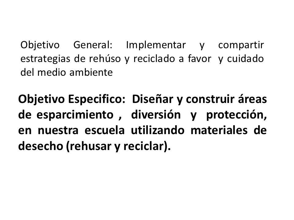 Objetivo General: Implementar y compartir estrategias de rehúso y reciclado a favor y cuidado del medio ambiente