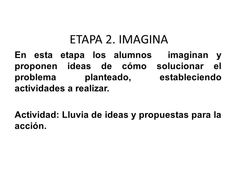 ETAPA 2. IMAGINAEn esta etapa los alumnos imaginan y proponen ideas de cómo solucionar el problema planteado, estableciendo actividades a realizar.