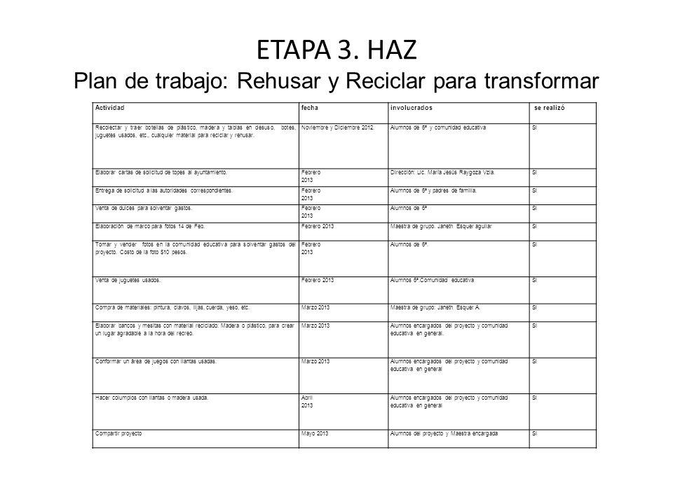 ETAPA 3. HAZ Plan de trabajo: Rehusar y Reciclar para transformar