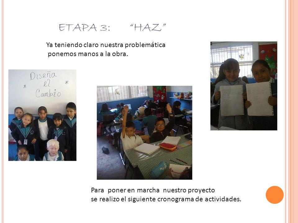 ETAPA 3: HAZ Ya teniendo claro nuestra problemática