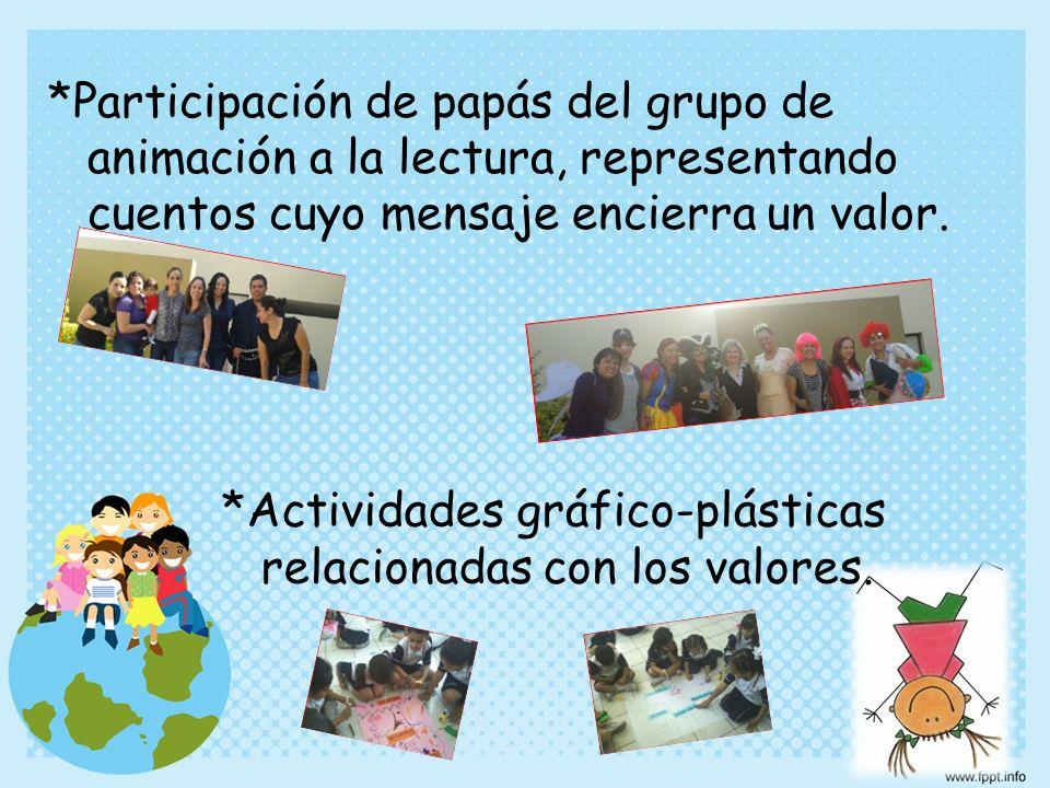 *Participación de papás del grupo de animación a la lectura, representando cuentos cuyo mensaje encierra un valor.