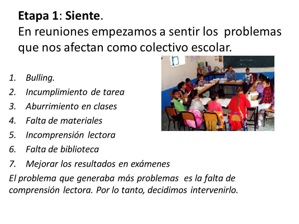 Etapa 1: Siente. En reuniones empezamos a sentir los problemas que nos afectan como colectivo escolar.