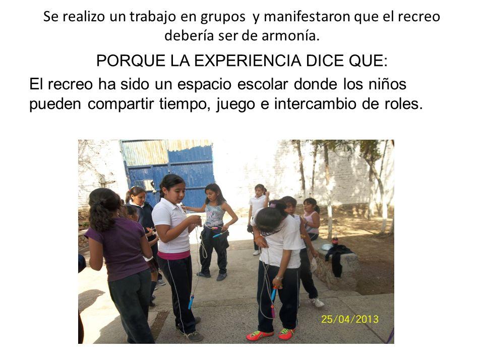 Se realizo un trabajo en grupos y manifestaron que el recreo debería ser de armonía.