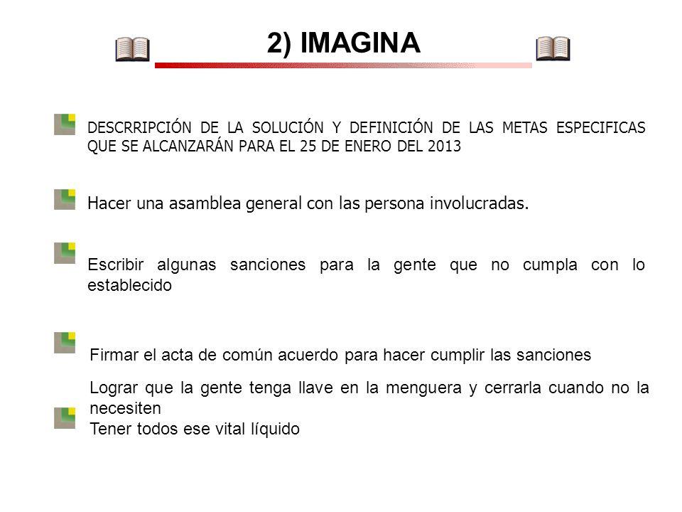 2) IMAGINA Hacer una asamblea general con las persona involucradas.