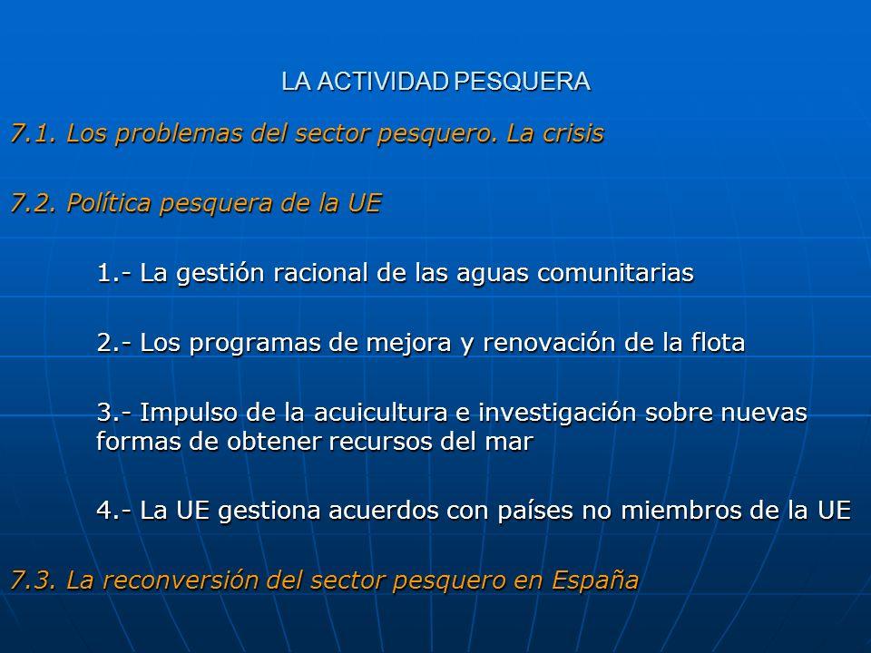 LA ACTIVIDAD PESQUERA 7.1. Los problemas del sector pesquero. La crisis. 7.2. Política pesquera de la UE.