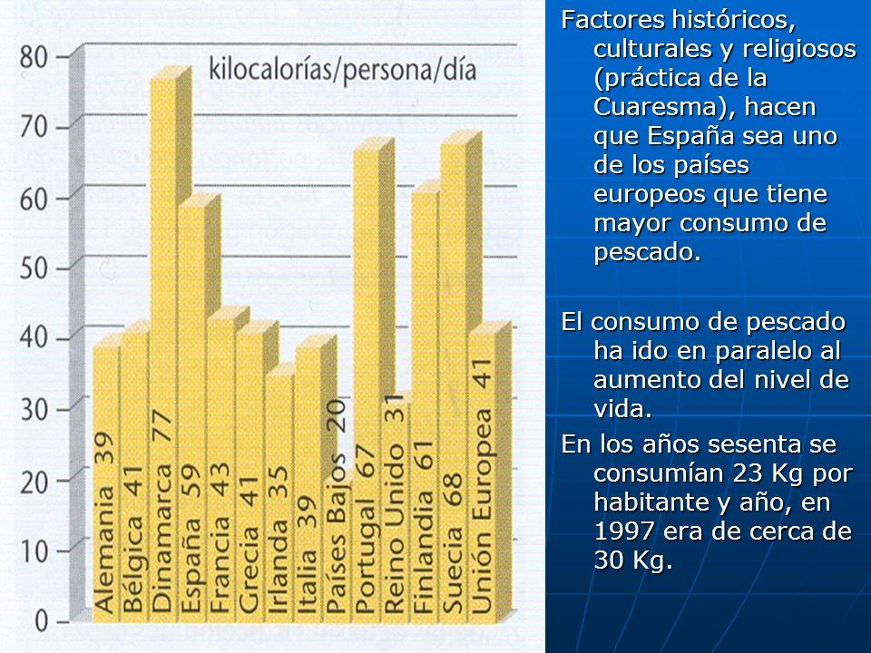 Factores históricos, culturales y religiosos (práctica de la Cuaresma), hacen que España sea uno de los países europeos que tiene mayor consumo de pescado.