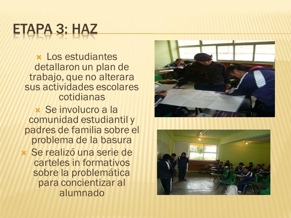 ETAPA 3: HAZLos estudiantes detallaron un plan de trabajo, que no alterara sus actividades escolares cotidianas.