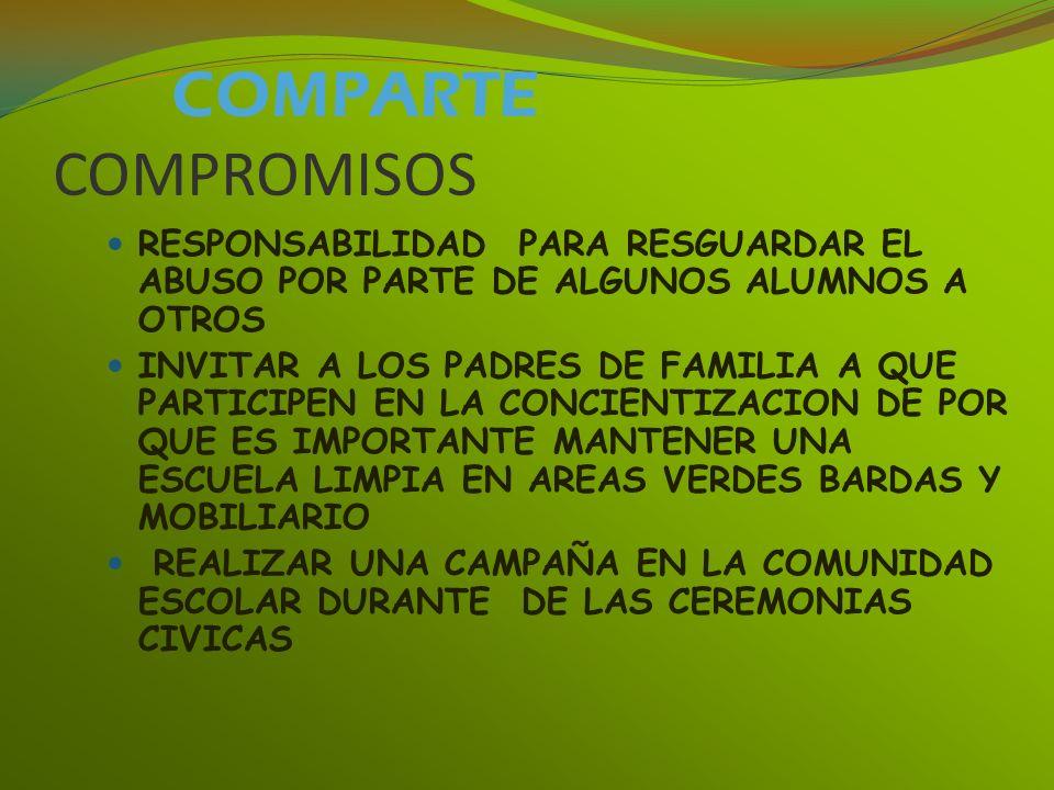 COMPARTE COMPROMISOS RESPONSABILIDAD PARA RESGUARDAR EL ABUSO POR PARTE DE ALGUNOS ALUMNOS A OTROS.