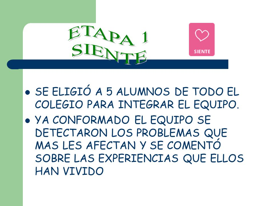 ETAPA 1 SIENTE. SE ELIGIÓ A 5 ALUMNOS DE TODO EL COLEGIO PARA INTEGRAR EL EQUIPO.