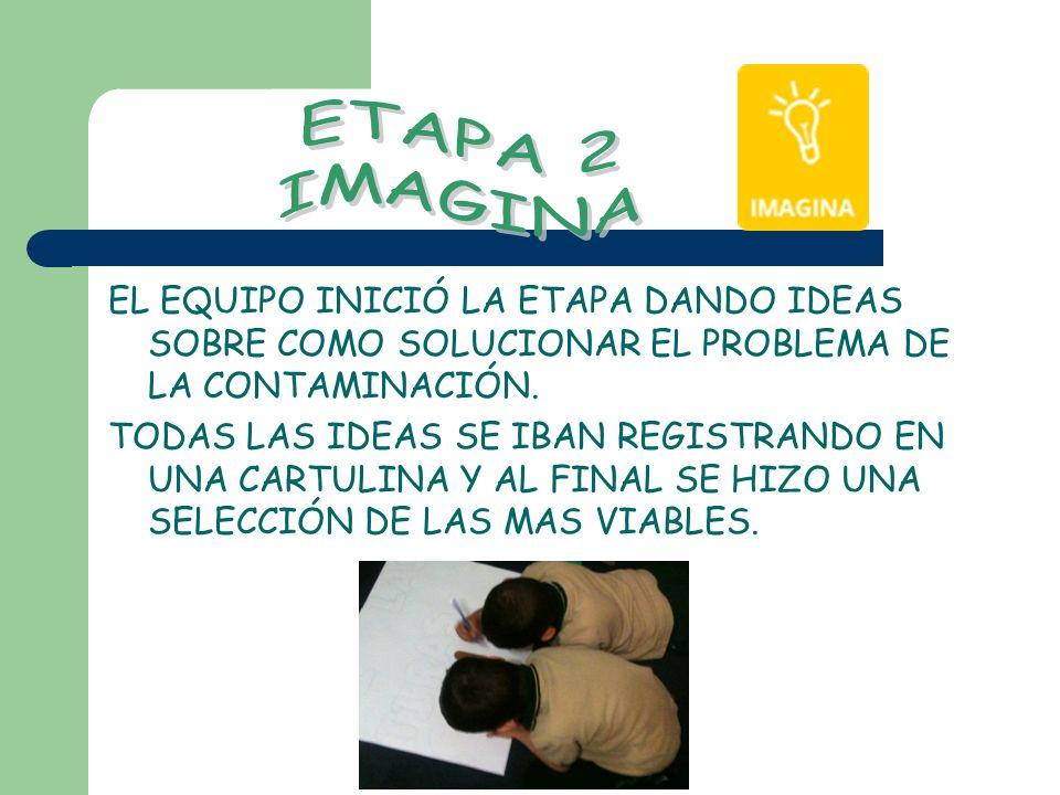 ETAPA 2 IMAGINA. EL EQUIPO INICIÓ LA ETAPA DANDO IDEAS SOBRE COMO SOLUCIONAR EL PROBLEMA DE LA CONTAMINACIÓN.