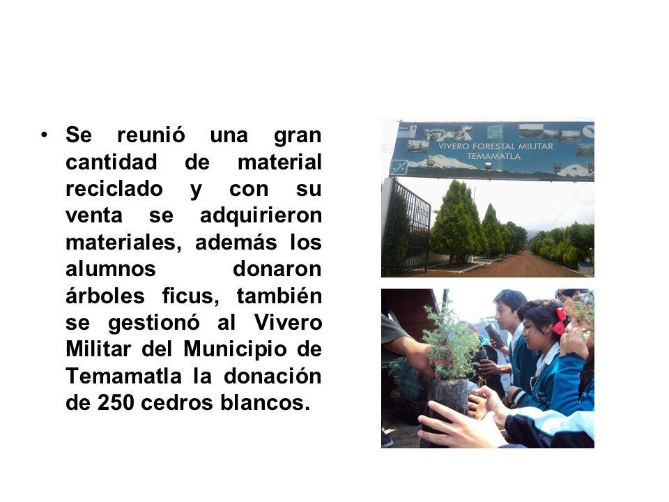 Se reunió una gran cantidad de material reciclado y con su venta se adquirieron materiales, además los alumnos donaron árboles ficus, también se gestionó al Vivero Militar del Municipio de Temamatla la donación de 250 cedros blancos.