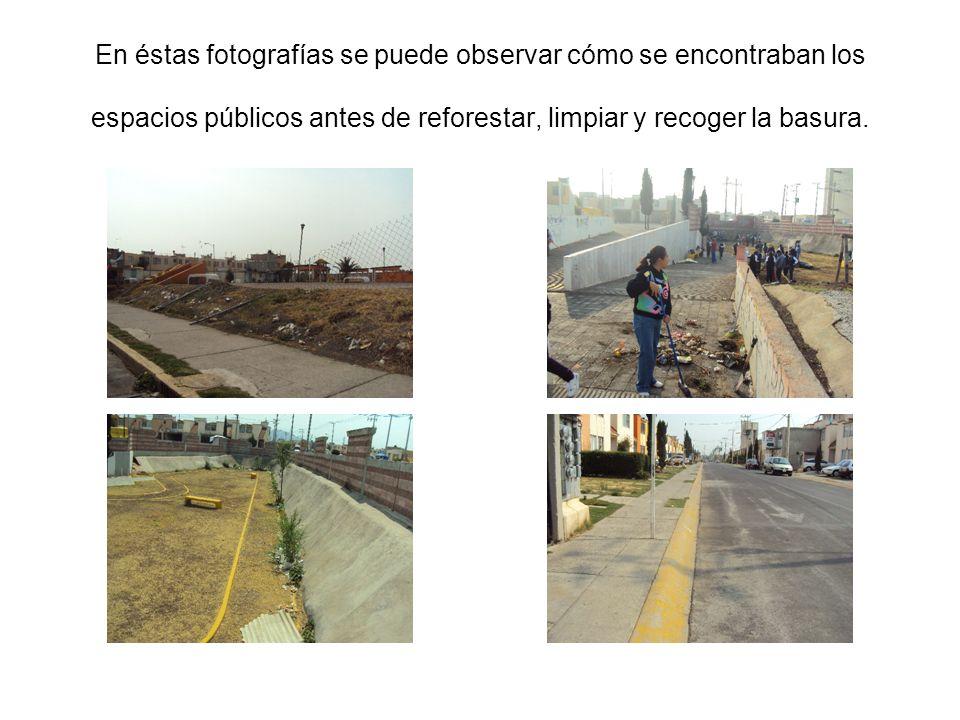 En éstas fotografías se puede observar cómo se encontraban los espacios públicos antes de reforestar, limpiar y recoger la basura.