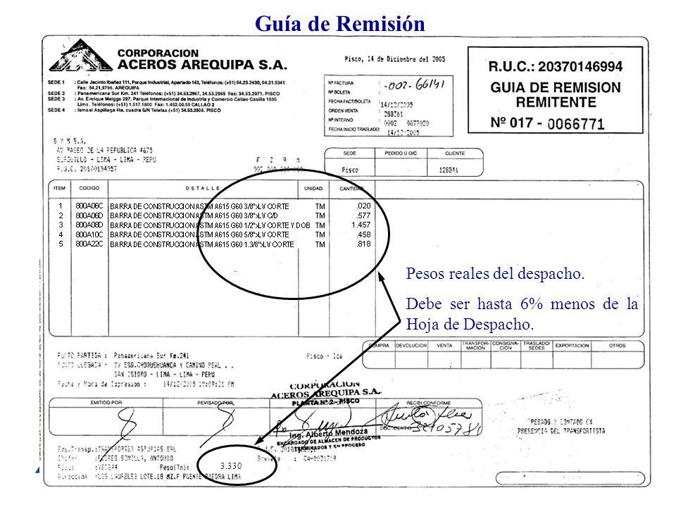 Guía de Remisión Pesos reales del despacho.