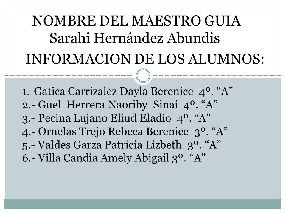 NOMBRE DEL MAESTRO GUIA Sarahi Hernández Abundis
