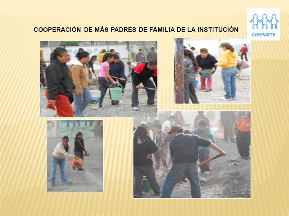 COOPERACIÓN DE MÁS PADRES DE FAMILIA DE LA INSTITUCIÓN