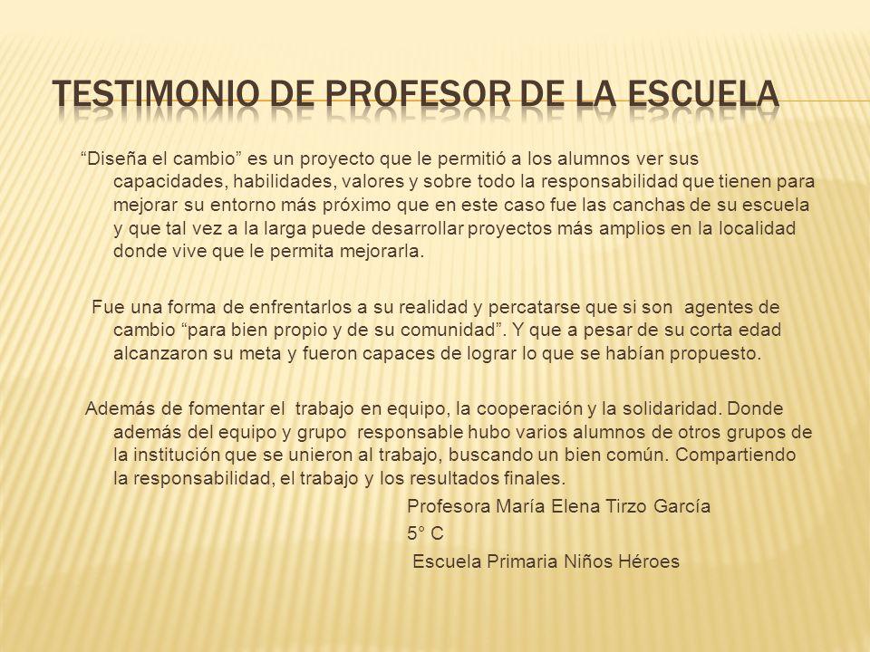 TESTIMONIO DE PROFESOR DE LA ESCUELA