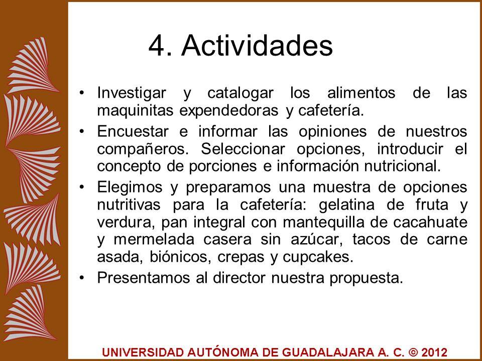 4. Actividades Investigar y catalogar los alimentos de las maquinitas expendedoras y cafetería.