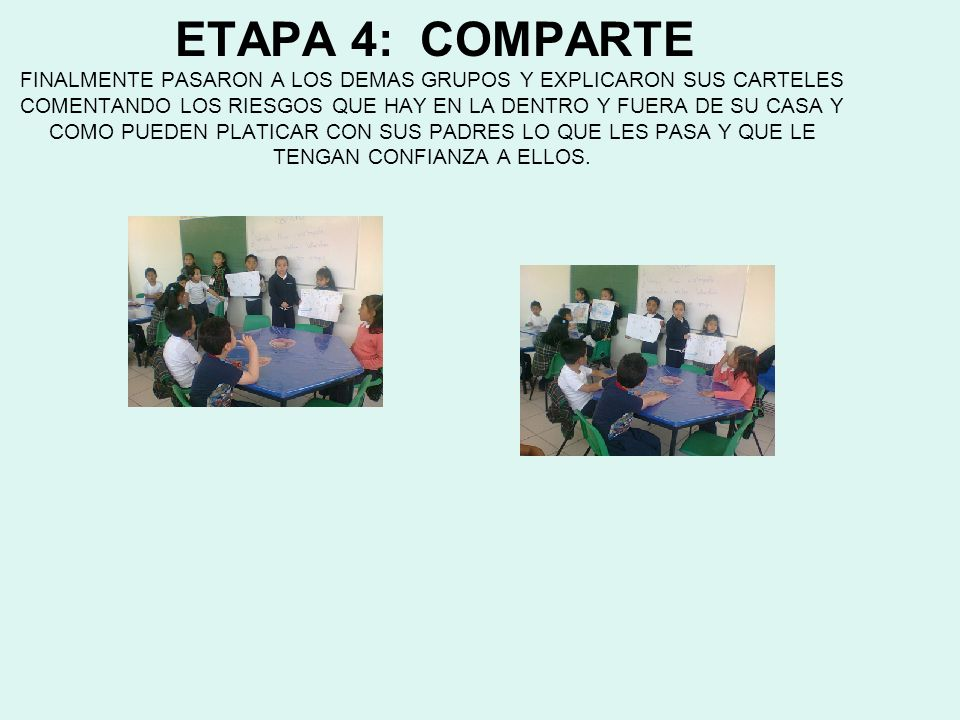 ETAPA 4: COMPARTE FINALMENTE PASARON A LOS DEMAS GRUPOS Y EXPLICARON SUS CARTELES COMENTANDO LOS RIESGOS QUE HAY EN LA DENTRO Y FUERA DE SU CASA Y COMO PUEDEN PLATICAR CON SUS PADRES LO QUE LES PASA Y QUE LE TENGAN CONFIANZA A ELLOS.