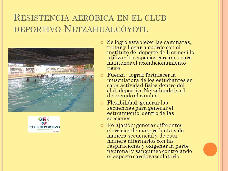 Resistencia aeróbica en el club deportivo Netzahualcóyotl
