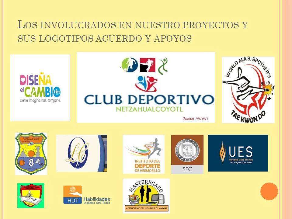 Los involucrados en nuestro proyectos y sus logotipos acuerdo y apoyos