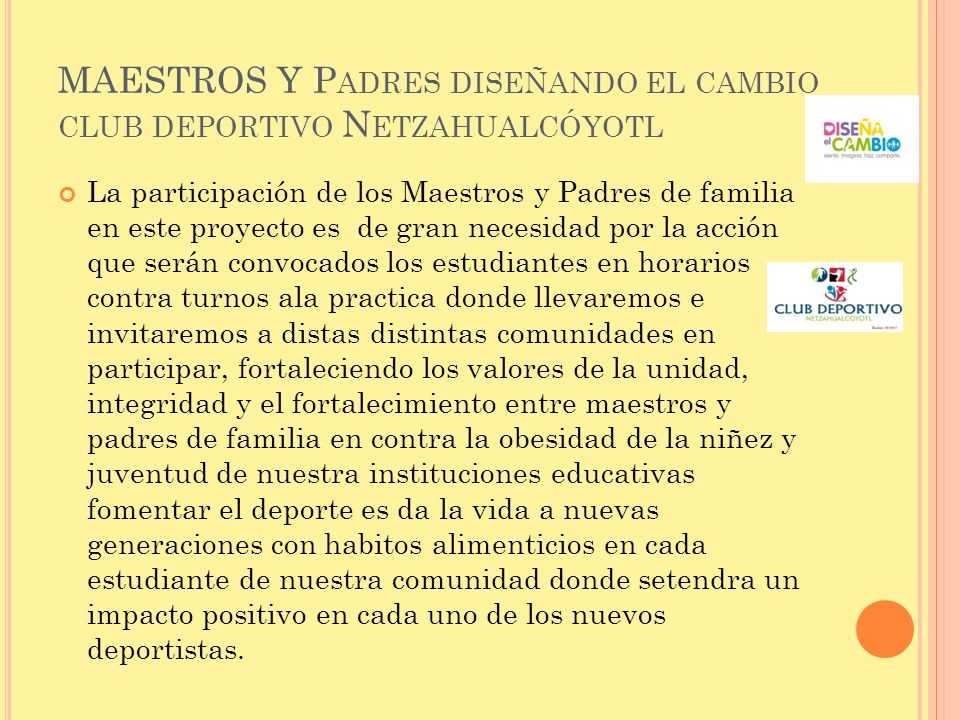 MAESTROS Y Padres diseñando el cambio club deportivo Netzahualcóyotl