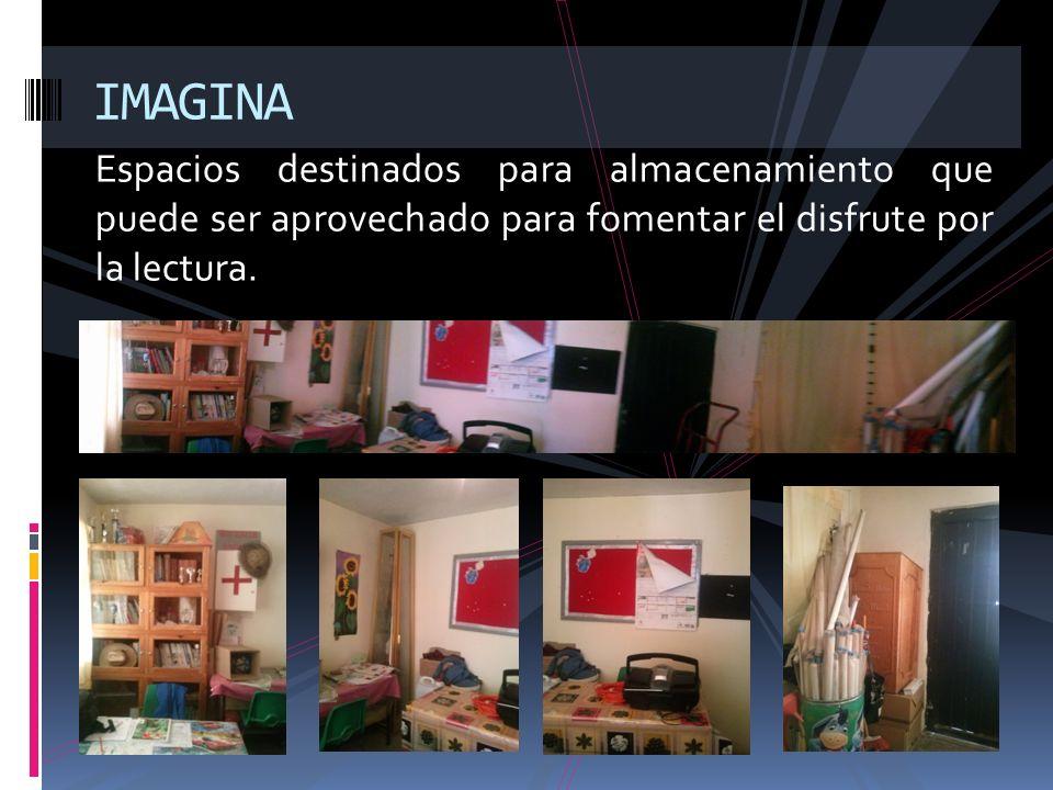 IMAGINAEspacios destinados para almacenamiento que puede ser aprovechado para fomentar el disfrute por la lectura.