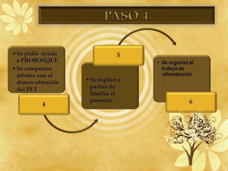 PASO 4 4 5 6 Se pidió ayuda a PROBOSQUE.