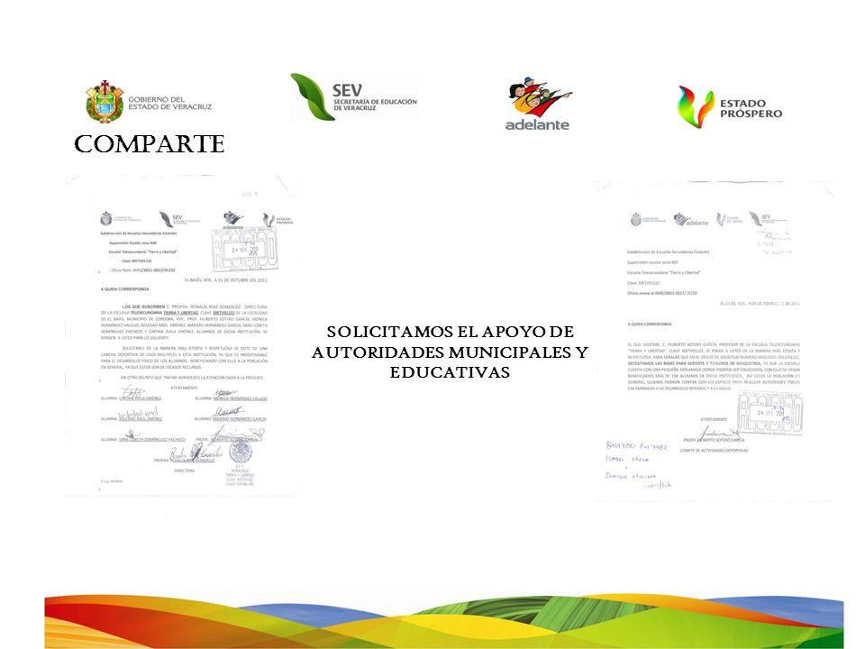 SOLICITAMOS EL APOYO DE AUTORIDADES MUNICIPALES Y EDUCATIVAS