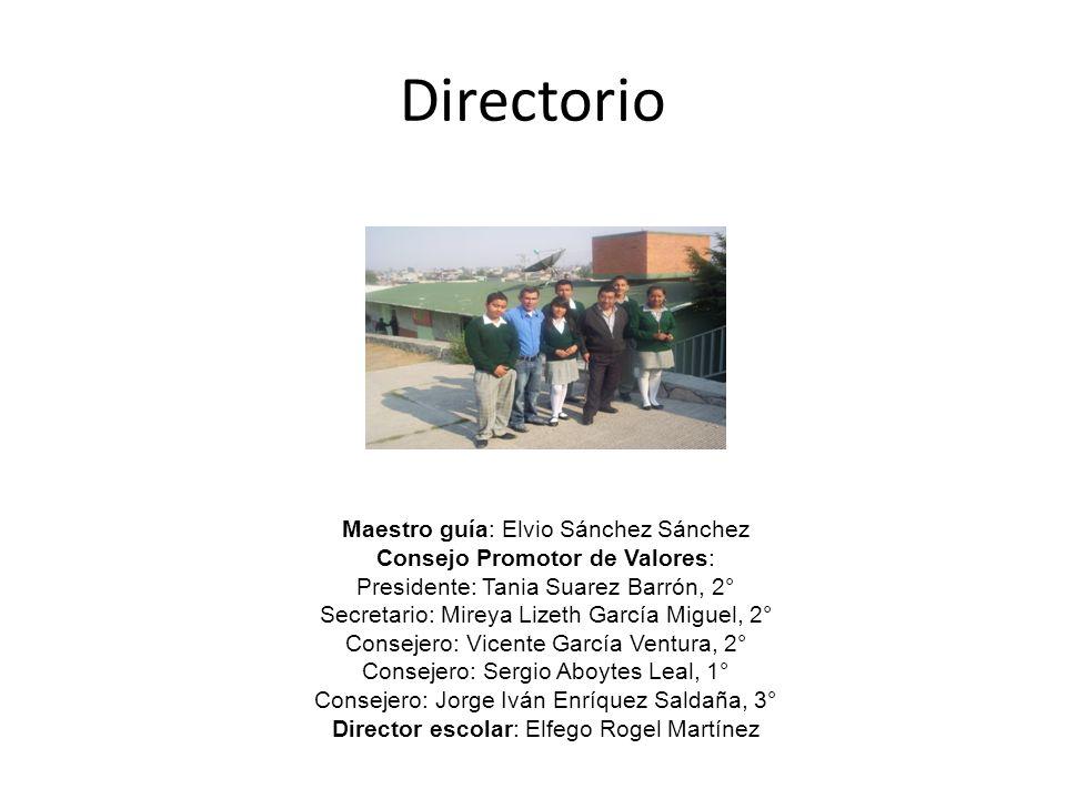Directorio Maestro guía: Elvio Sánchez Sánchez