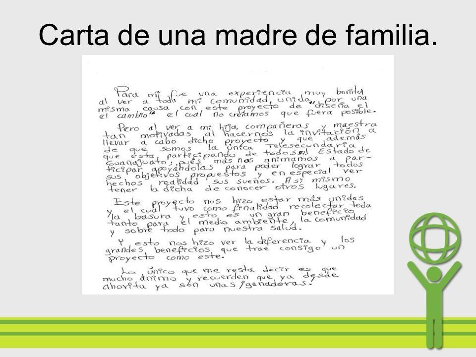 Carta de una madre de familia.