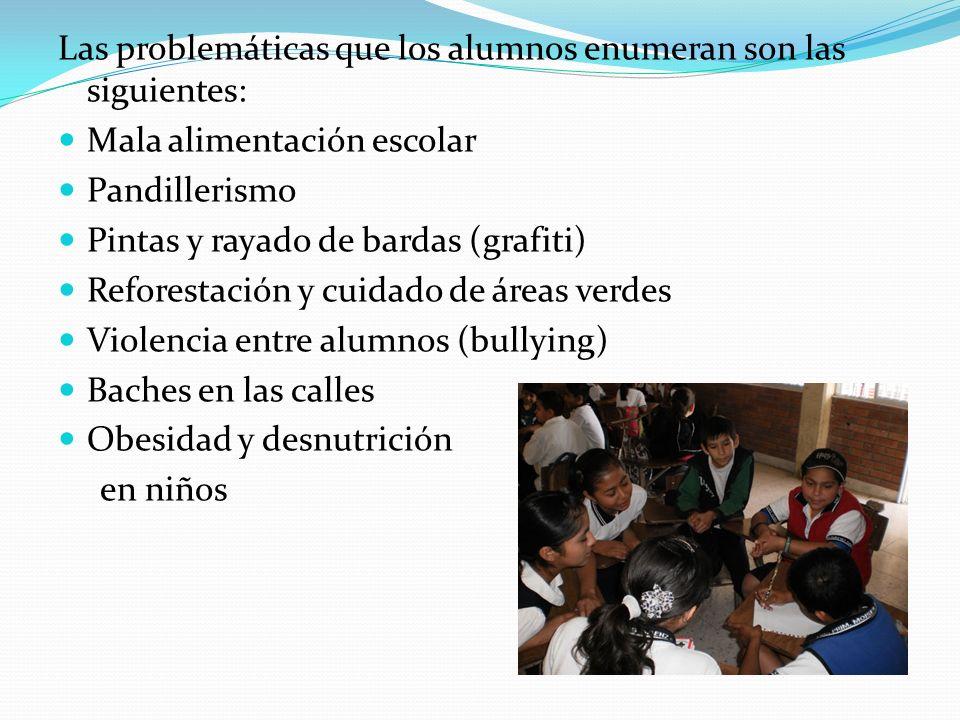 Las problemáticas que los alumnos enumeran son las siguientes: