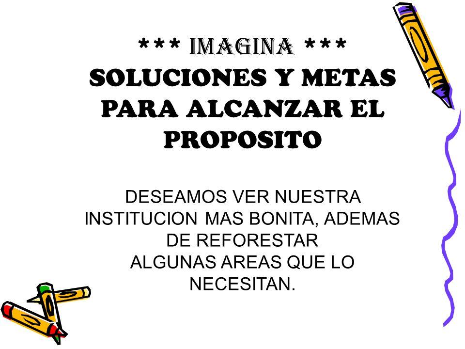 SOLUCIONES Y METAS PARA ALCANZAR EL PROPOSITO