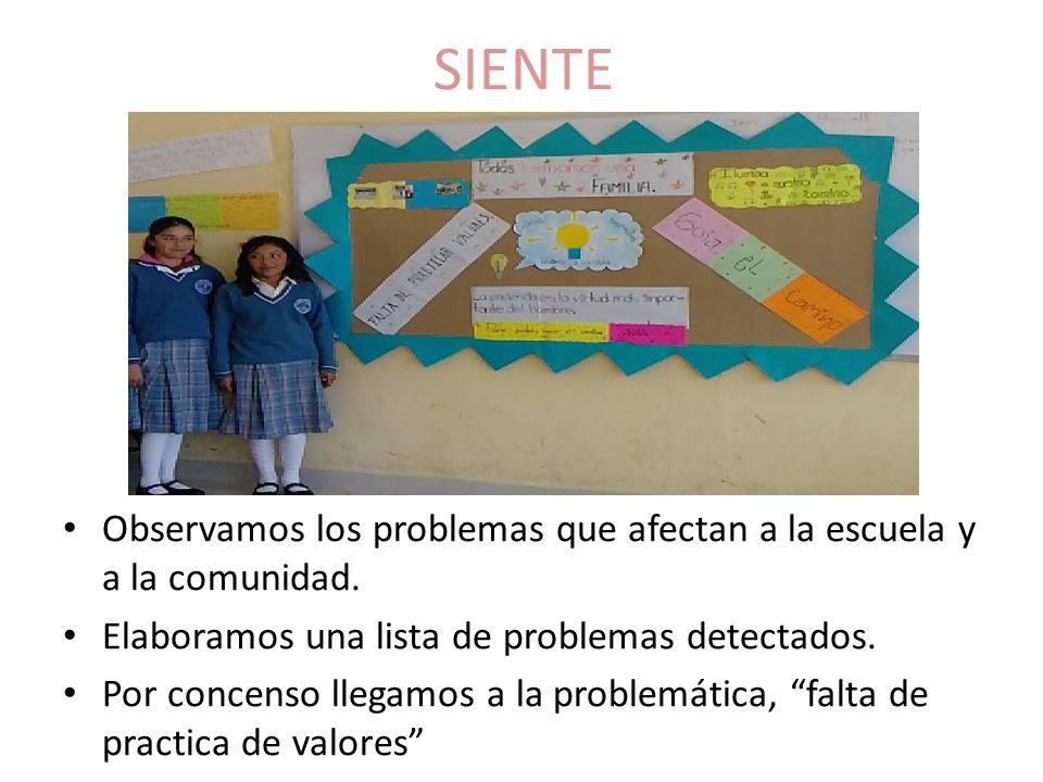 SIENTE Observamos los problemas que afectan a la escuela y a la comunidad. Elaboramos una lista de problemas detectados.