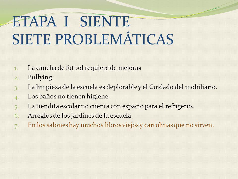 ETAPA I SIENTE SIETE PROBLEMÁTICAS