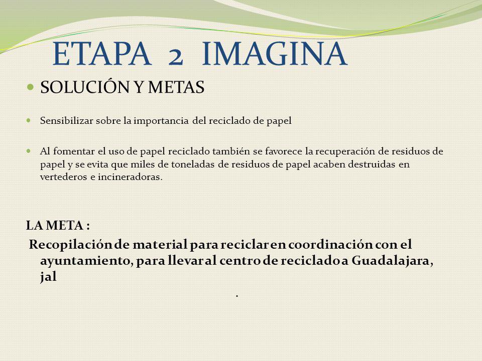 ETAPA 2 IMAGINA SOLUCIÓN Y METAS LA META :