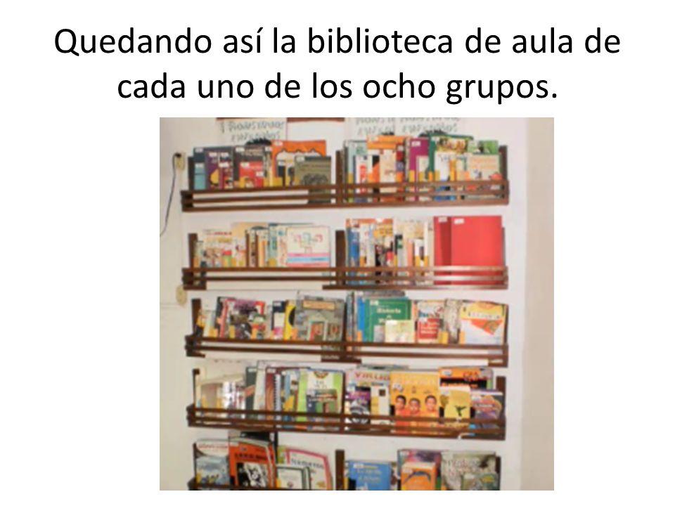Quedando así la biblioteca de aula de cada uno de los ocho grupos.