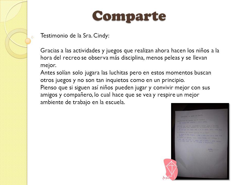Comparte Testimonio de la Sra. Cindy: