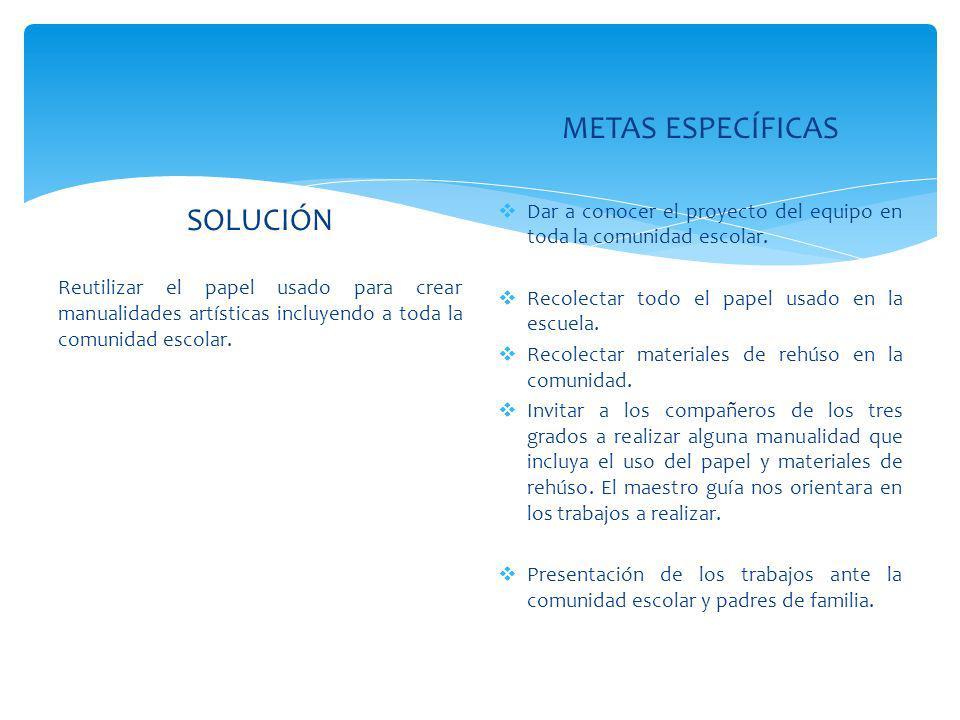 METAS ESPECÍFICAS SOLUCIÓN