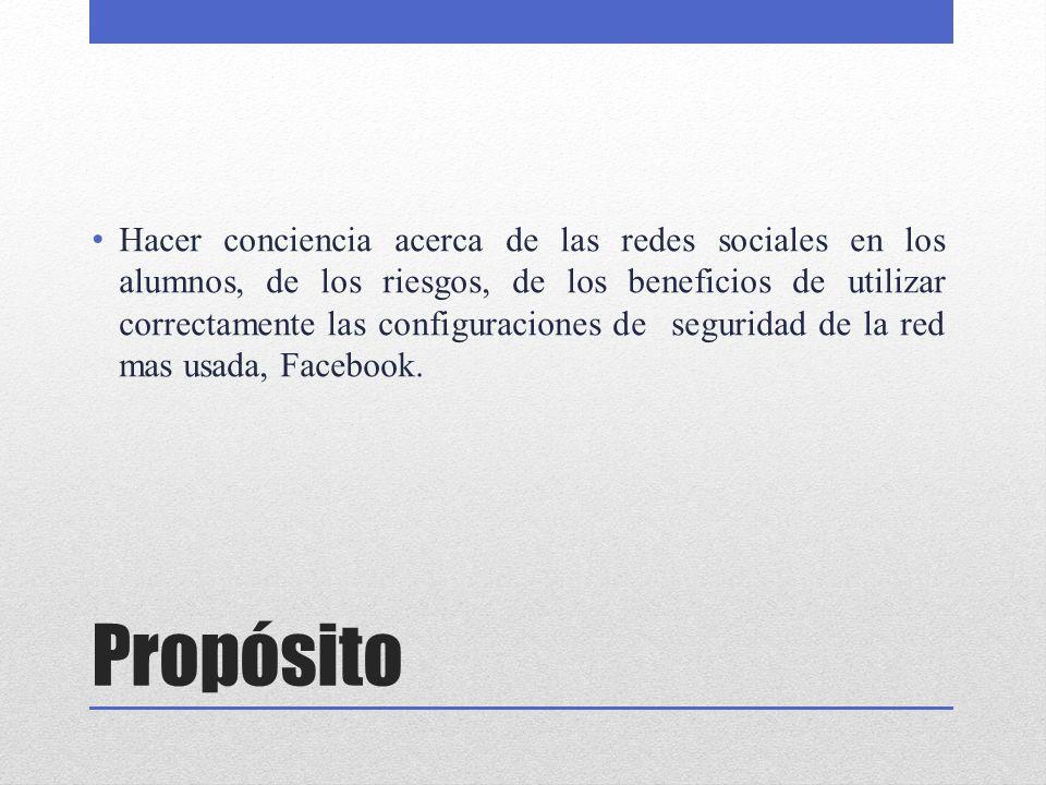 Hacer conciencia acerca de las redes sociales en los alumnos, de los riesgos, de los beneficios de utilizar correctamente las configuraciones de seguridad de la red mas usada, Facebook.