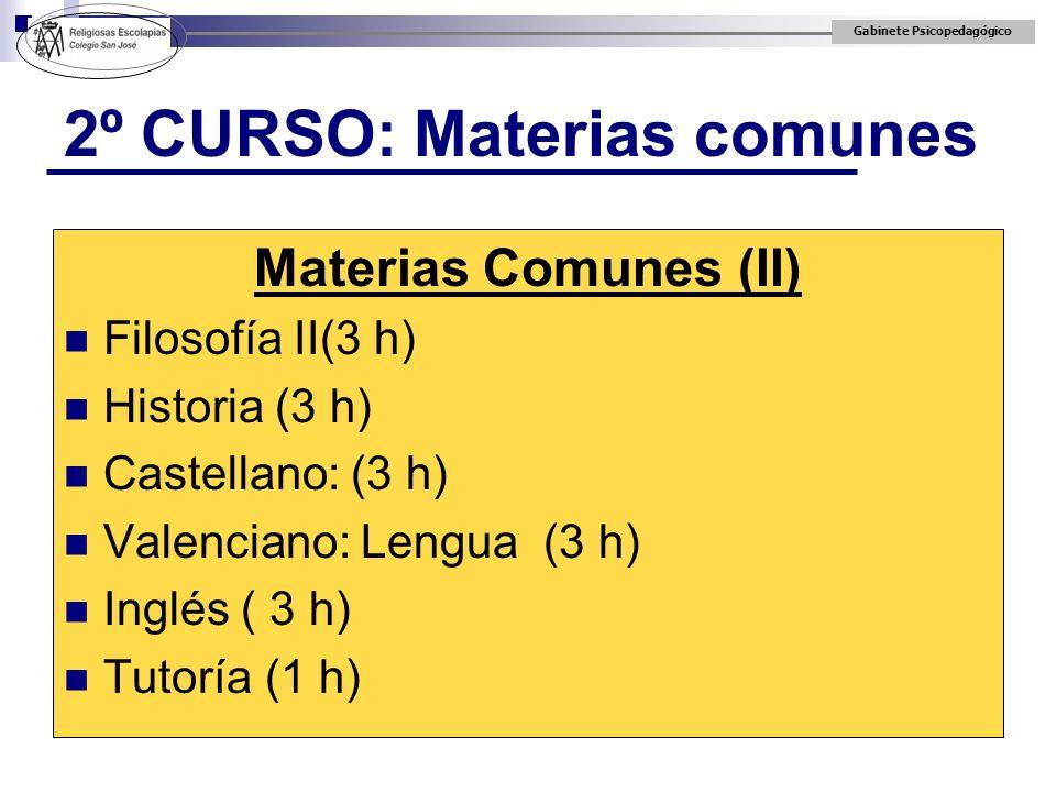2º CURSO: Materias comunes
