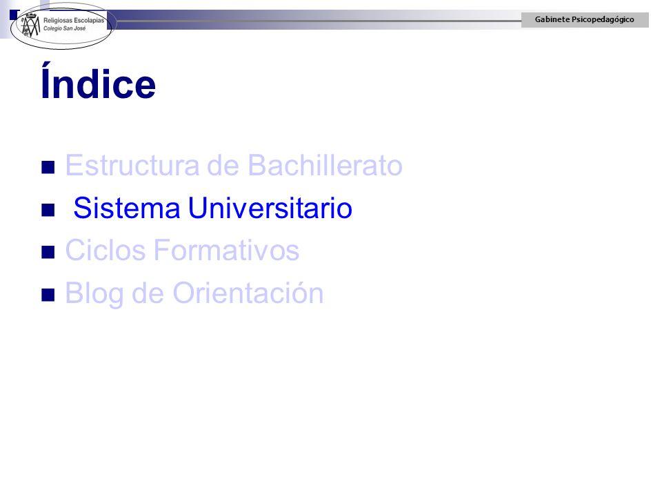Índice Estructura de Bachillerato Sistema Universitario