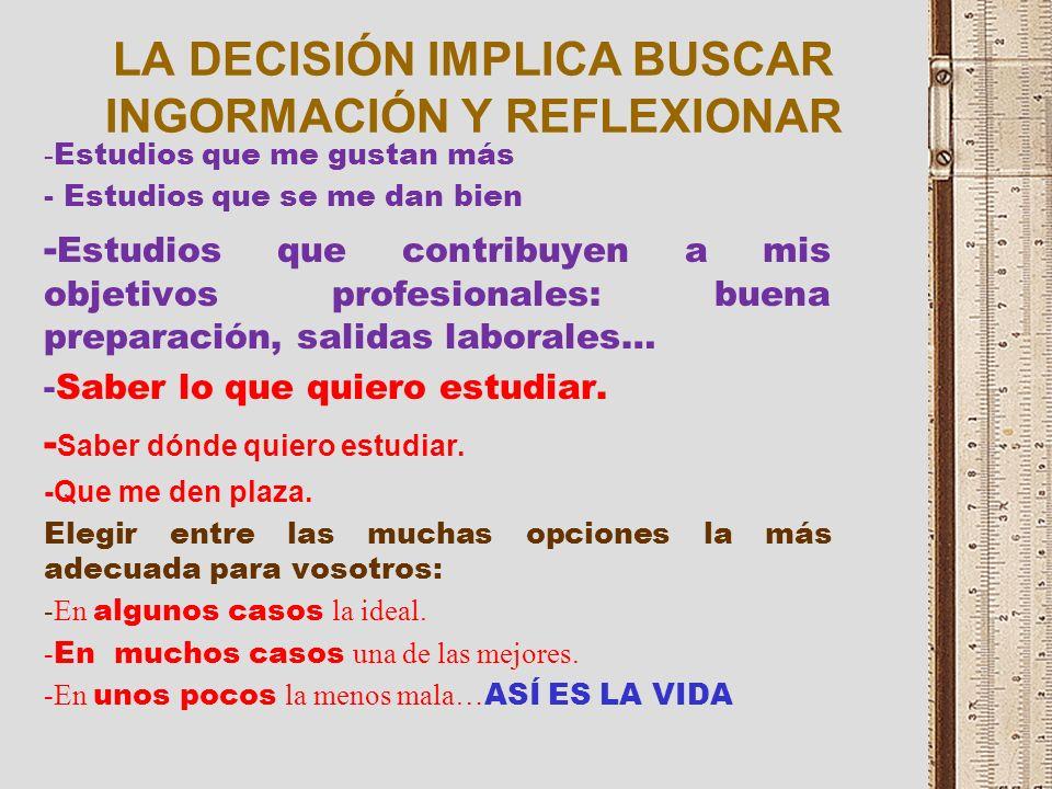LA DECISIÓN IMPLICA BUSCAR INGORMACIÓN Y REFLEXIONAR