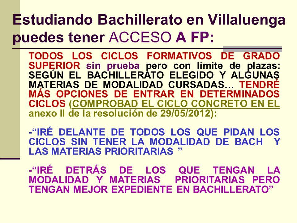 Estudiando Bachillerato en Villaluenga puedes tener ACCESO A FP: