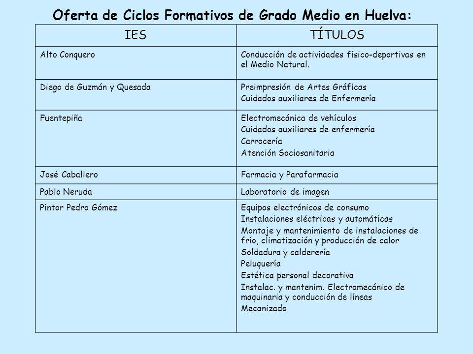 Oferta de Ciclos Formativos de Grado Medio en Huelva: