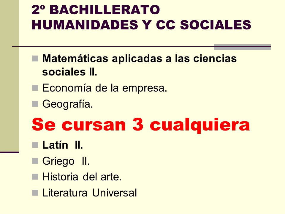 2º BACHILLERATO HUMANIDADES Y CC SOCIALES