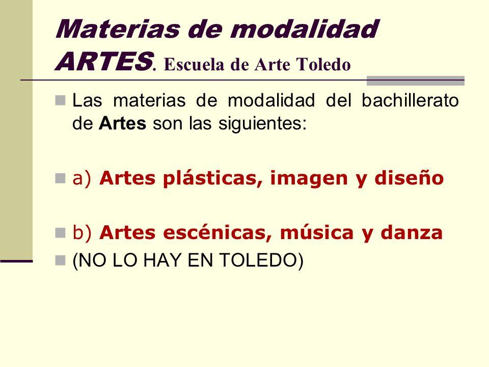 Materias de modalidad ARTES. Escuela de Arte Toledo