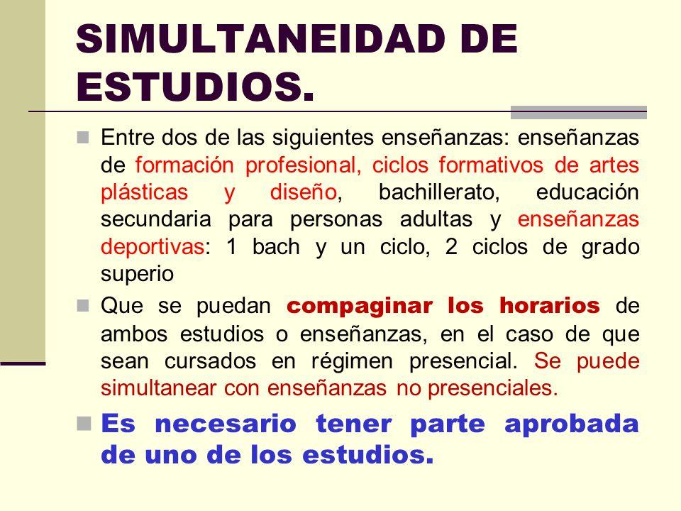 SIMULTANEIDAD DE ESTUDIOS.